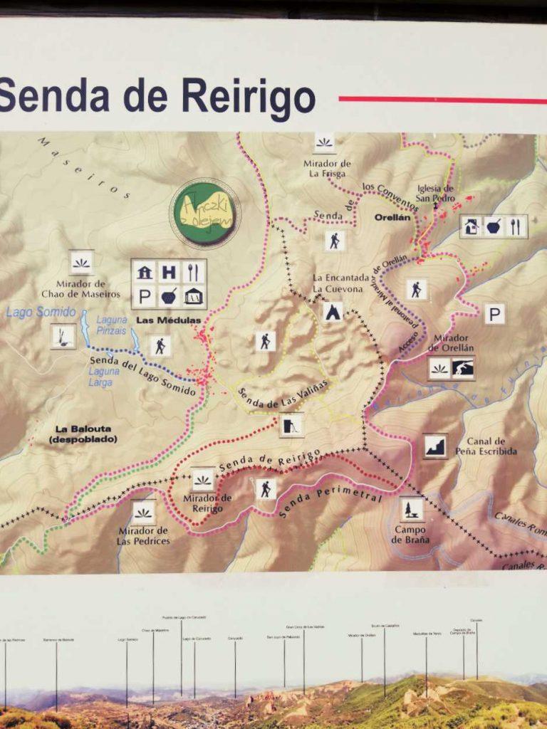 Las Médulas – mapa szlaku