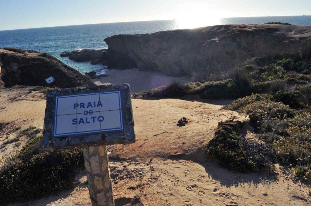 Plaże Costa Alentejana - Praia do Salto - napis